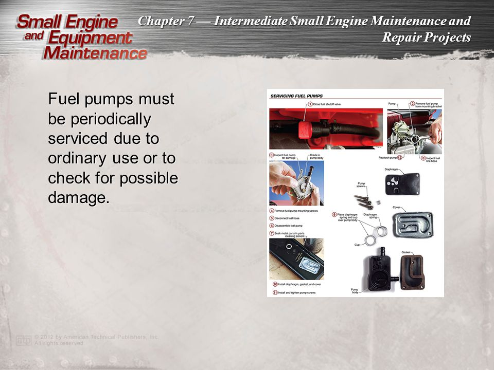 Fuel pumps must be periodically serviced due to ordinary use or to check for possible damage.