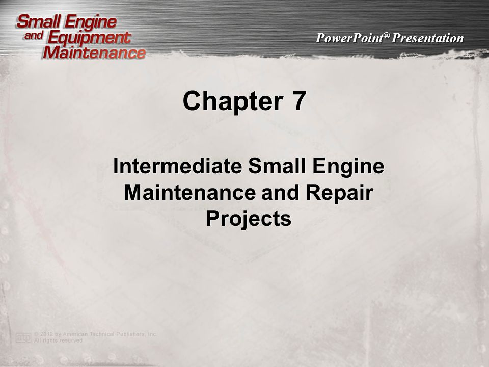 Intermediate Small Engine Maintenance and Repair Projects