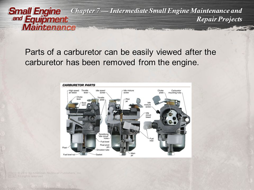 Parts of a carburetor can be easily viewed after the carburetor has been removed from the engine.