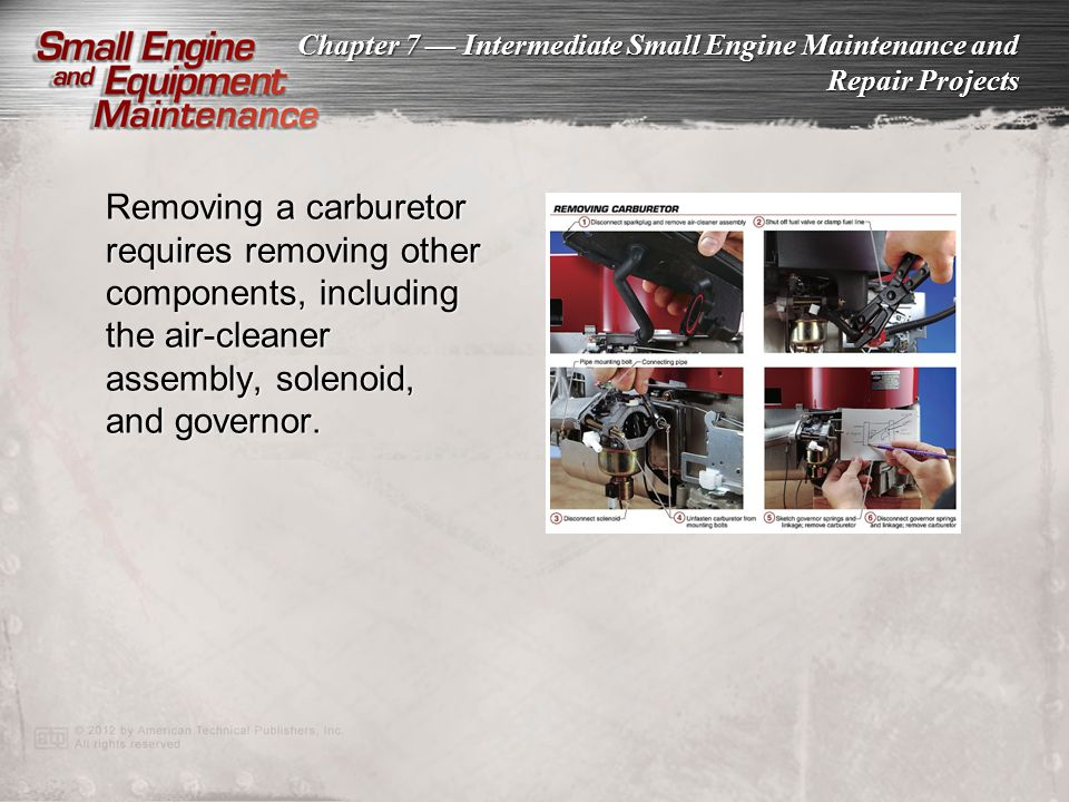 Removing a carburetor requires removing other components, including the air-cleaner assembly, solenoid, and governor.