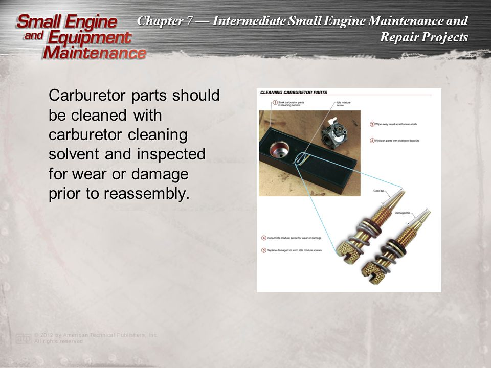 Carburetor parts should be cleaned with carburetor cleaning solvent and inspected for wear or damage prior to reassembly.