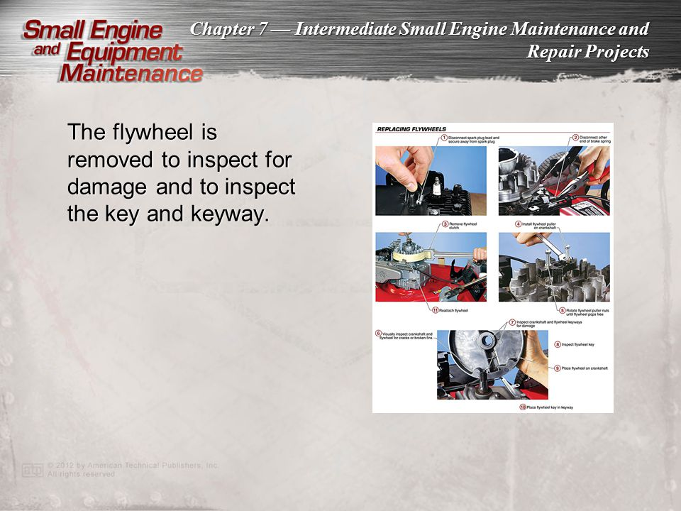 The flywheel is removed to inspect for damage and to inspect the key and keyway.