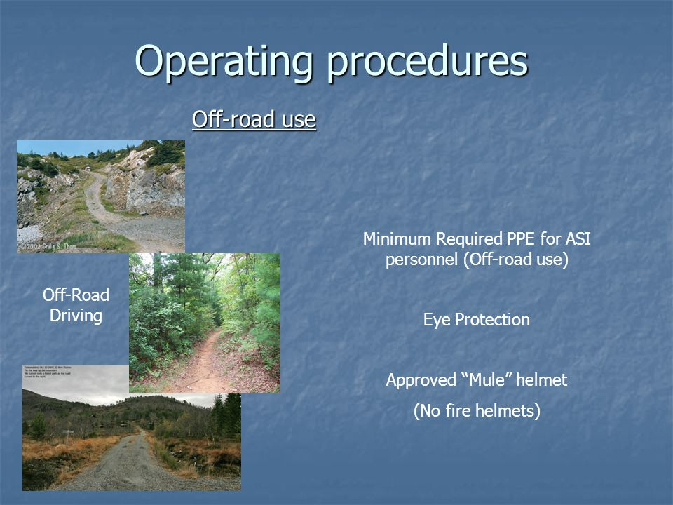Operating procedures Off-road use