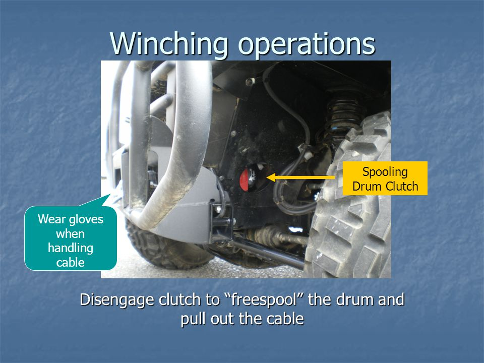 Disengage clutch to freespool the drum and pull out the cable