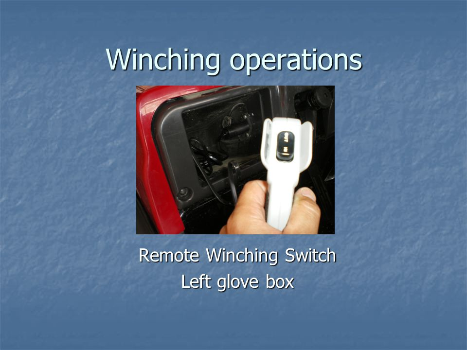 Remote Winching Switch Left glove box