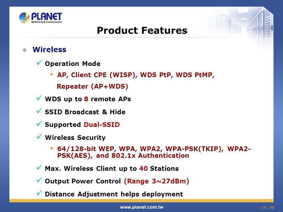 Product Features Wireless Operation Mode