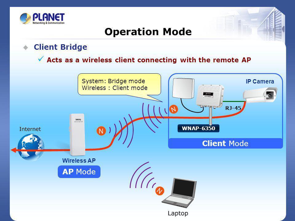 Operation Mode Client Bridge Client Mode AP Mode