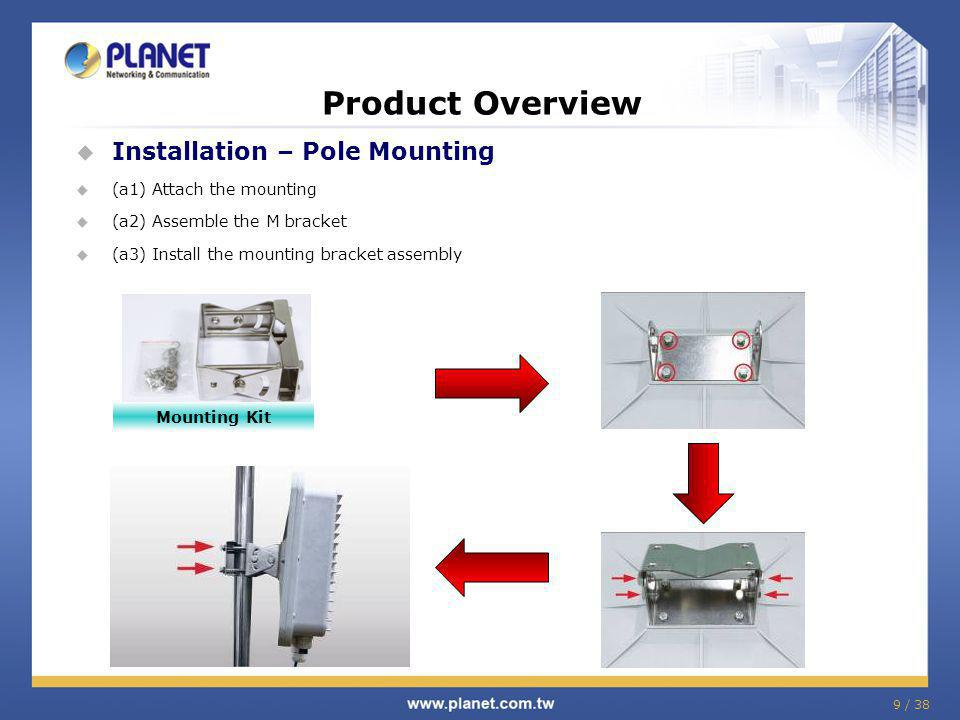 Product Overview Installation – Pole Mounting (a1) Attach the mounting