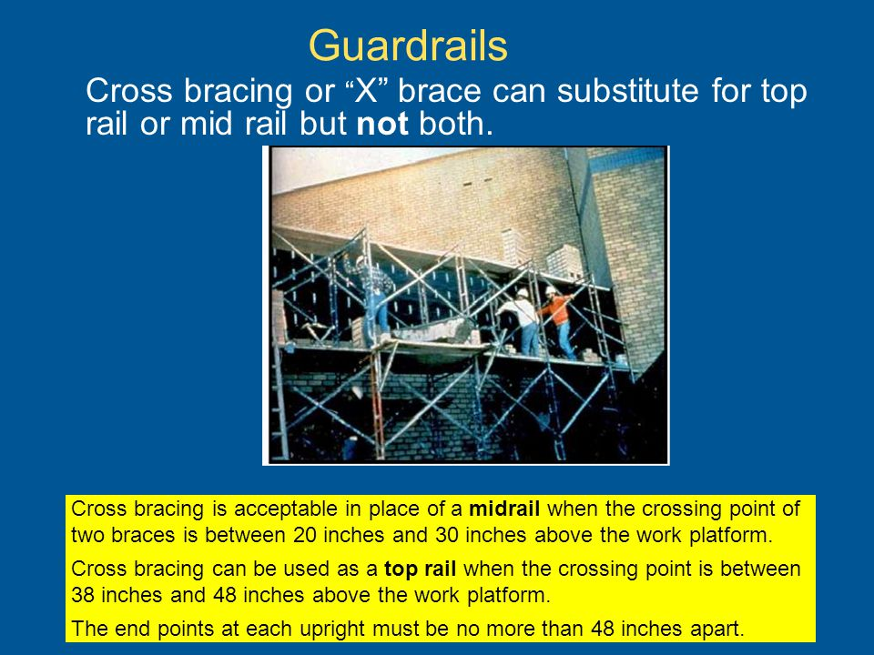 Guardrails Cross bracing or X brace can substitute for top rail or mid rail but not both.