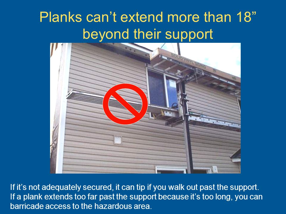 Planks can't extend more than 18 beyond their support
