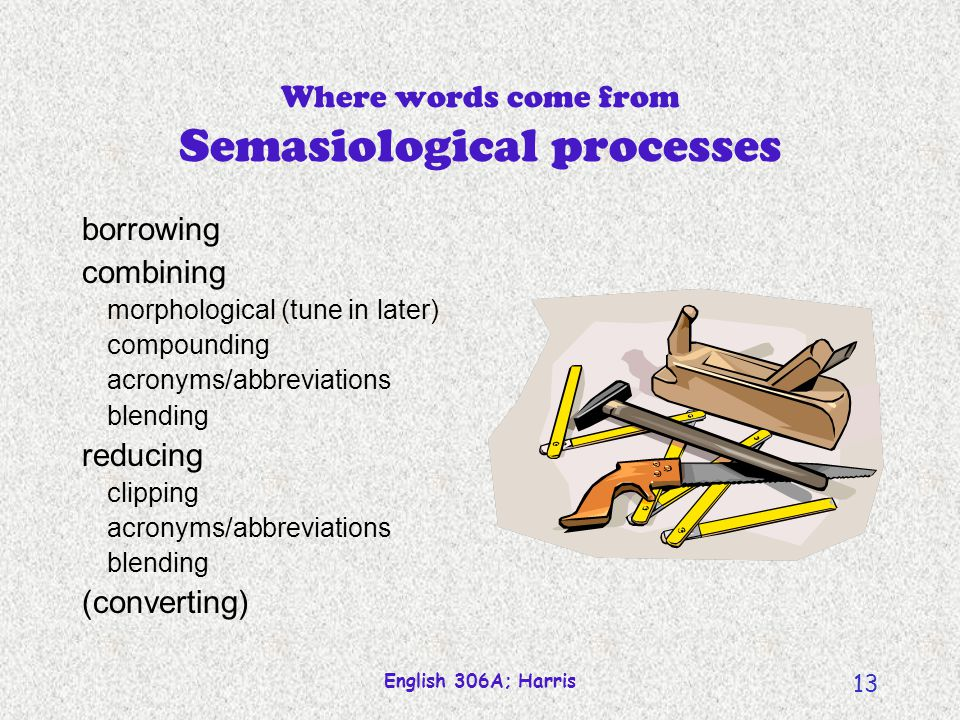 Where words come from Semasiological processes