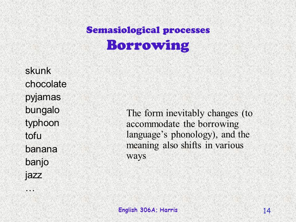Semasiological processes Borrowing