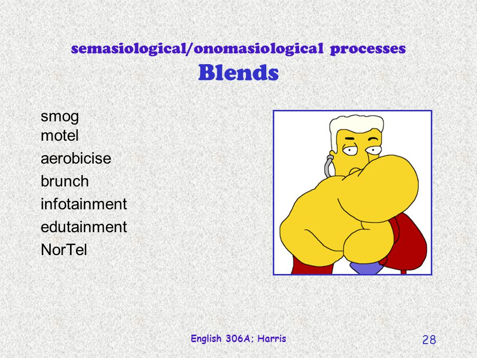 semasiological/onomasiological processes Blends