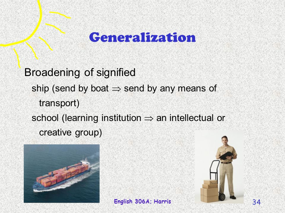 Generalization Broadening of signified
