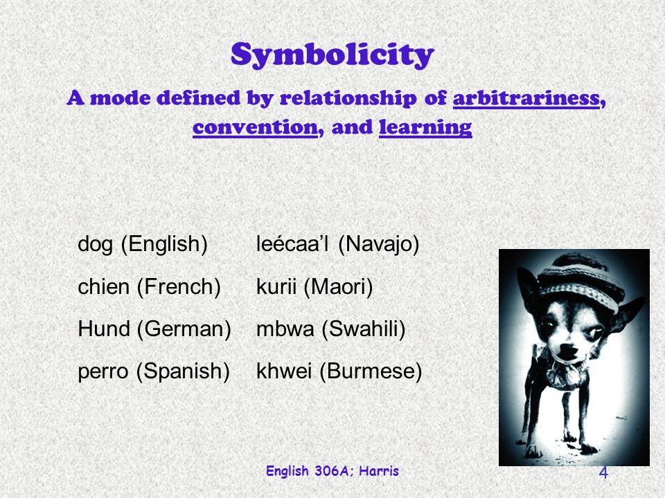 Symbolicity A mode defined by relationship of arbitrariness, convention, and learning