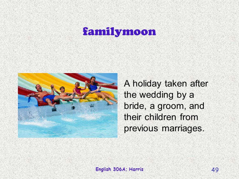 familymoon A holiday taken after the wedding by a bride, a groom, and their children from previous marriages.