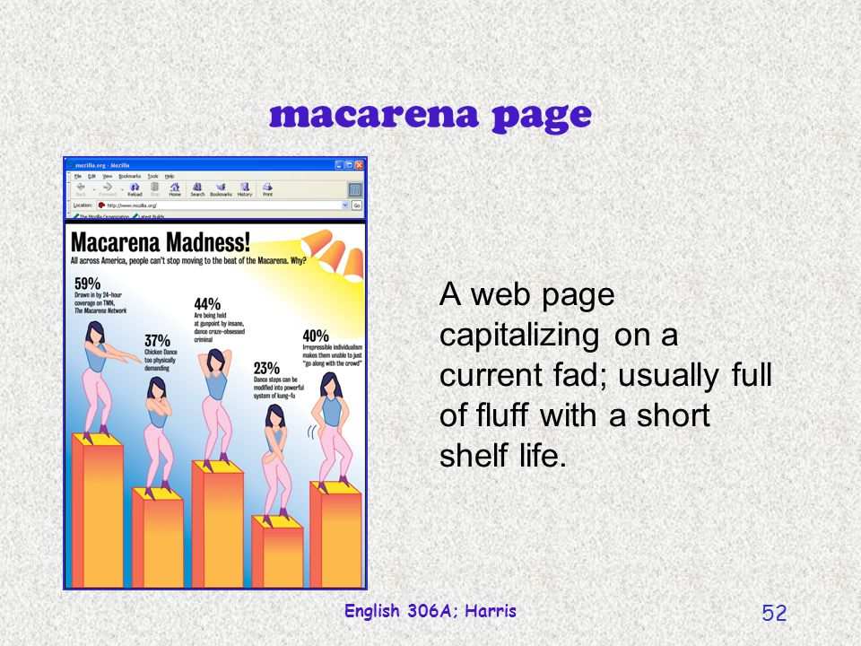 macarena page A web page capitalizing on a current fad; usually full of fluff with a short shelf life.