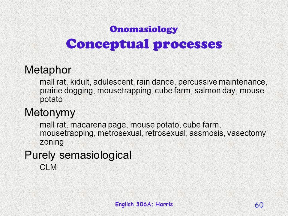 Onomasiology Conceptual processes