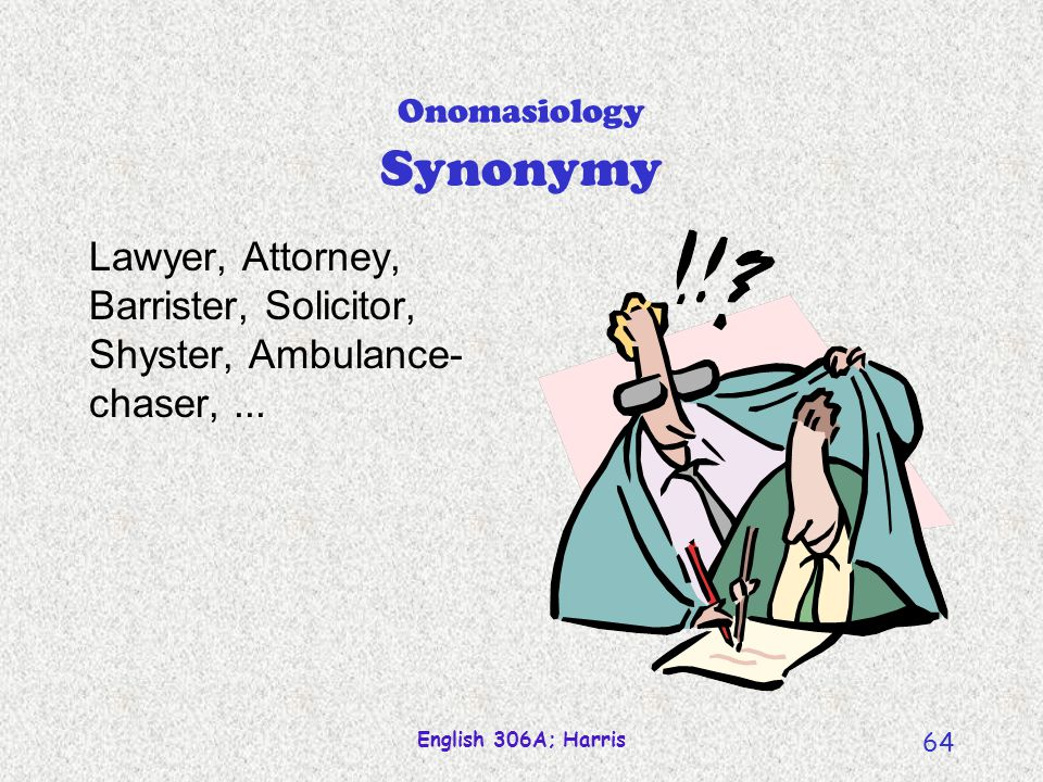 Onomasiology Synonymy