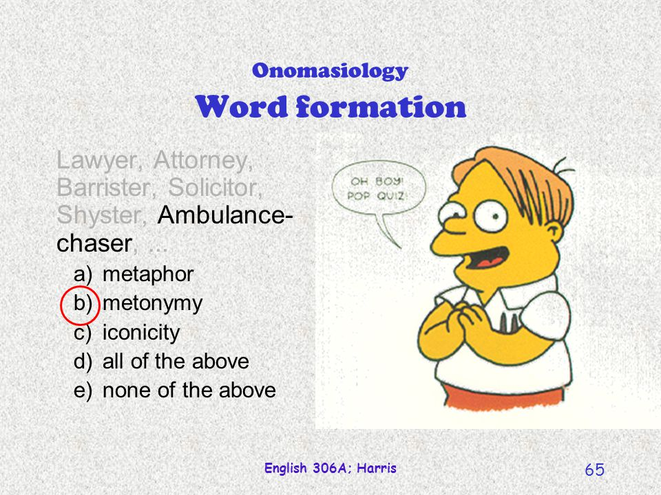 Onomasiology Word formation
