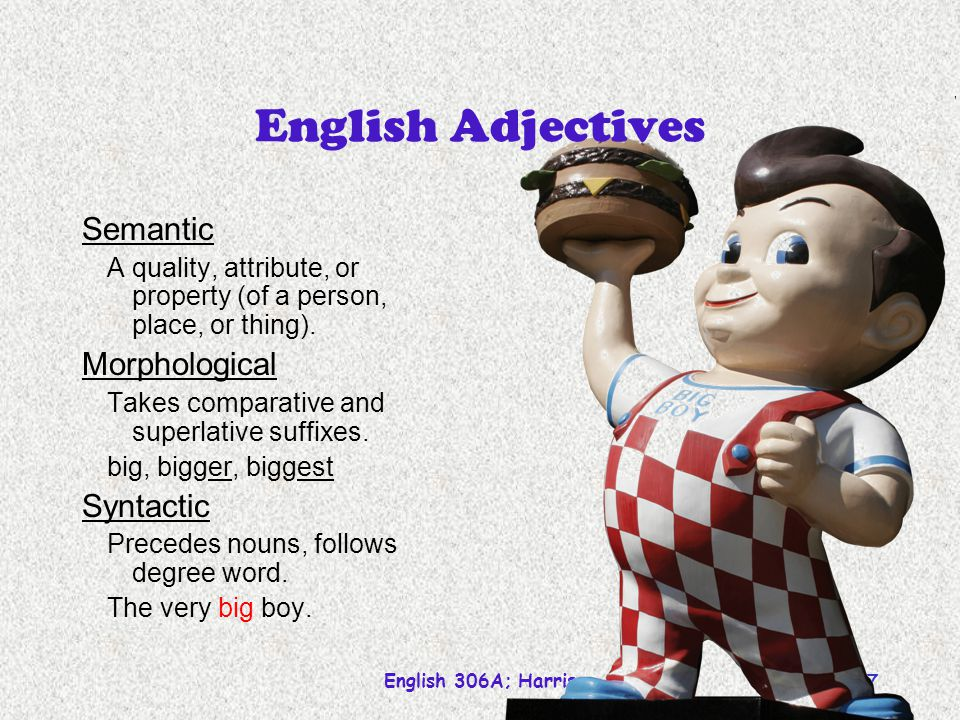 English Adjectives Semantic Morphological Syntactic