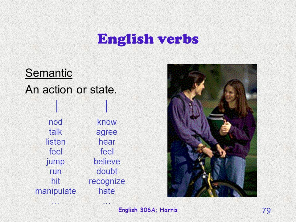 English verbs Semantic An action or state.