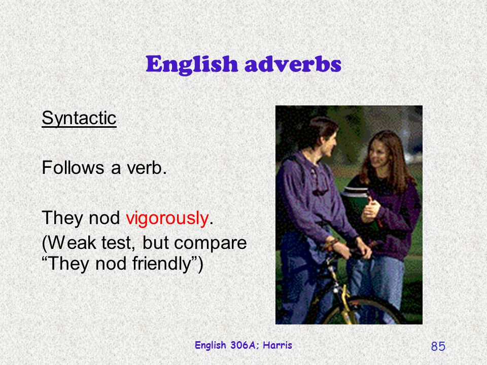 English adverbs Syntactic Follows a verb. They nod vigorously.