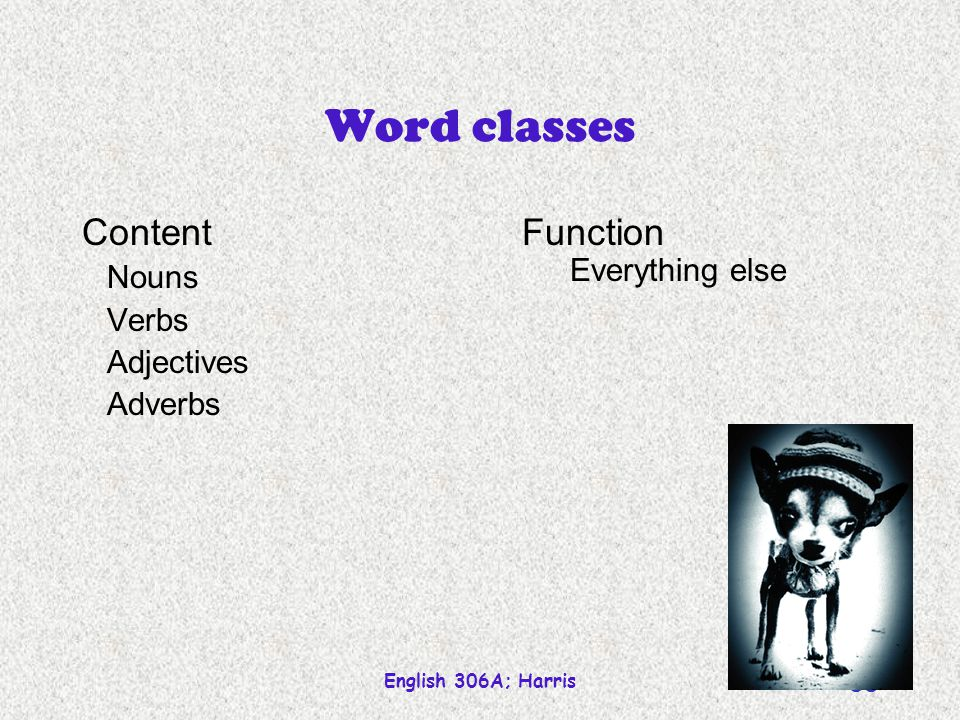 Word classes Content Function Nouns Verbs Adjectives Adverbs