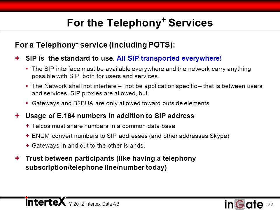 For the Telephony+ Services