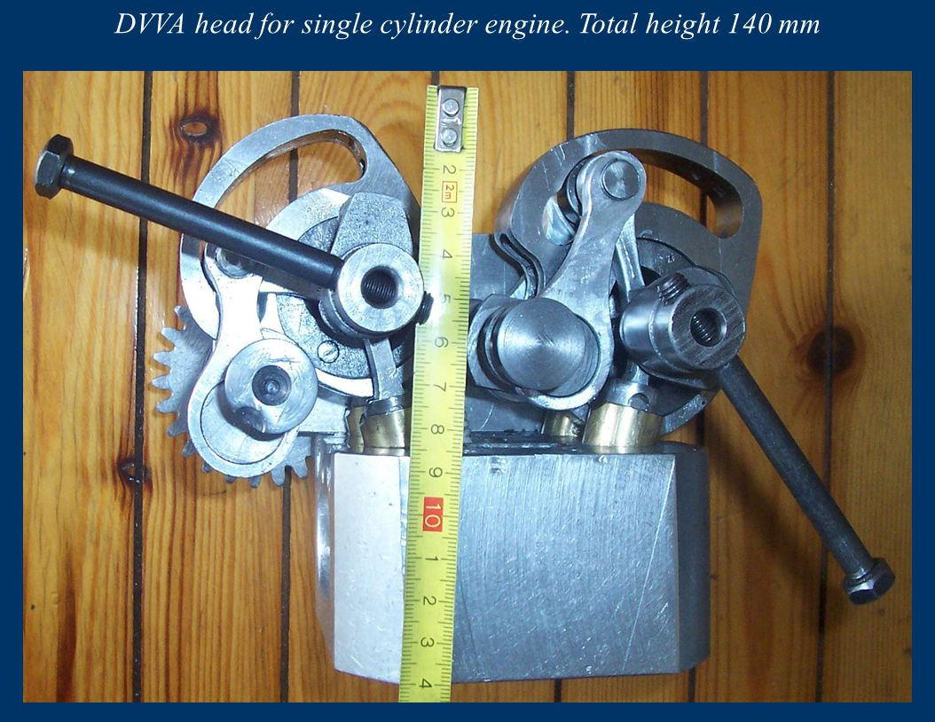 DVVA head for single cylinder engine. Total height 140 mm