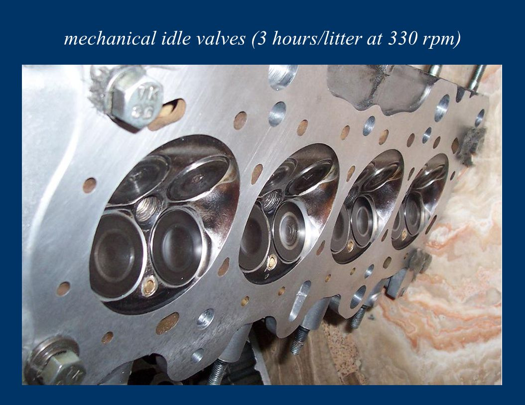 mechanical idle valves (3 hours/litter at 330 rpm)