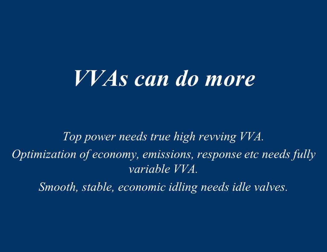 VVAs can do more Top power needs true high revving VVA.