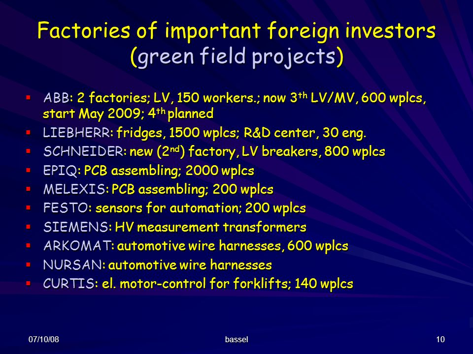 Factories of important foreign investors (green field projects)