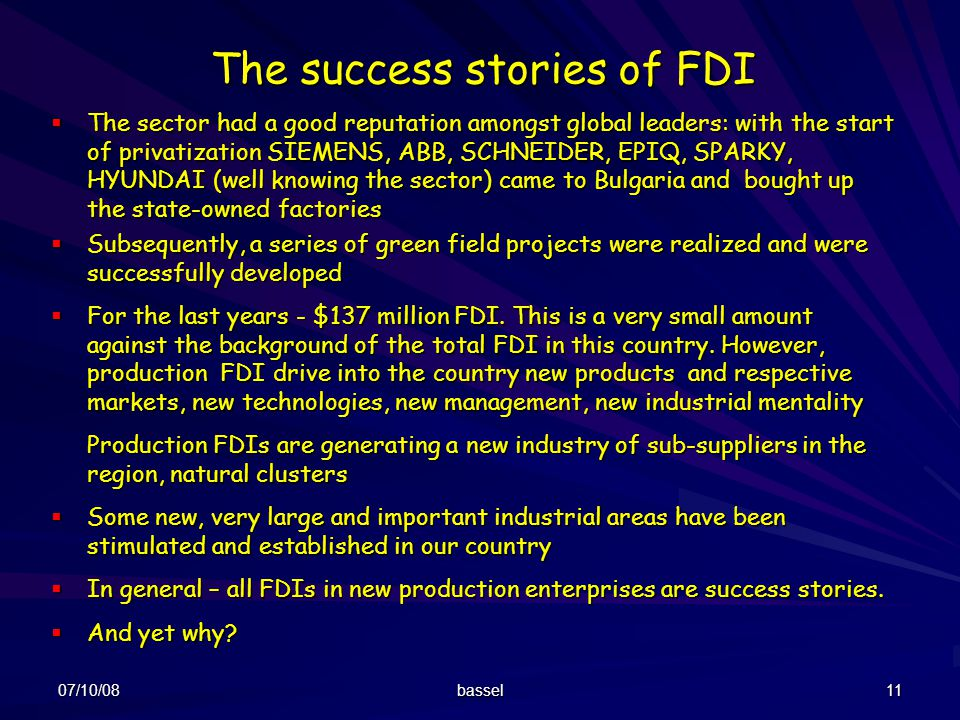 The success stories of FDI