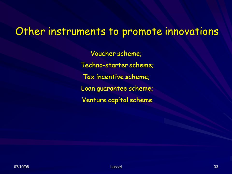 Other instruments to promote innovations
