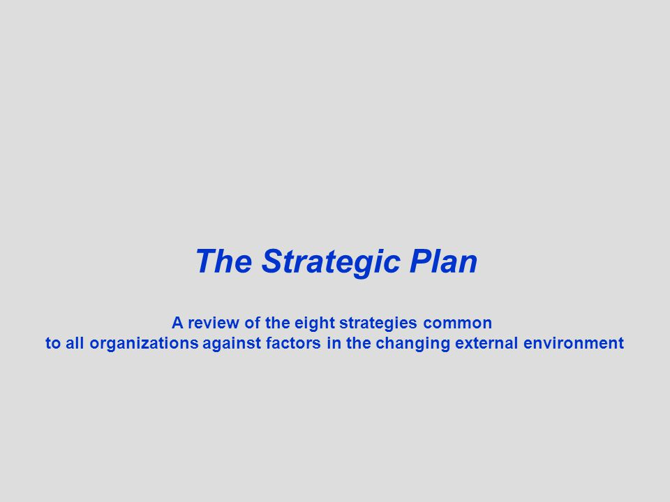 A review of the eight strategies common