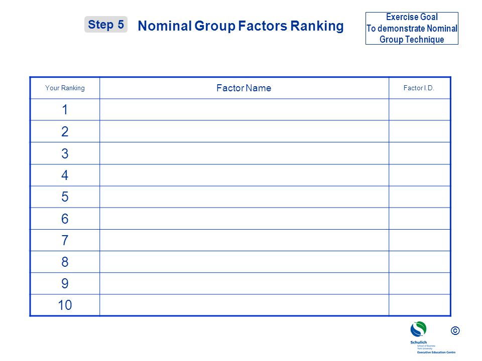 Nominal Group Factors Ranking