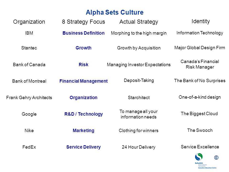 Alpha Sets Culture Organization 8 Strategy Focus Actual Strategy