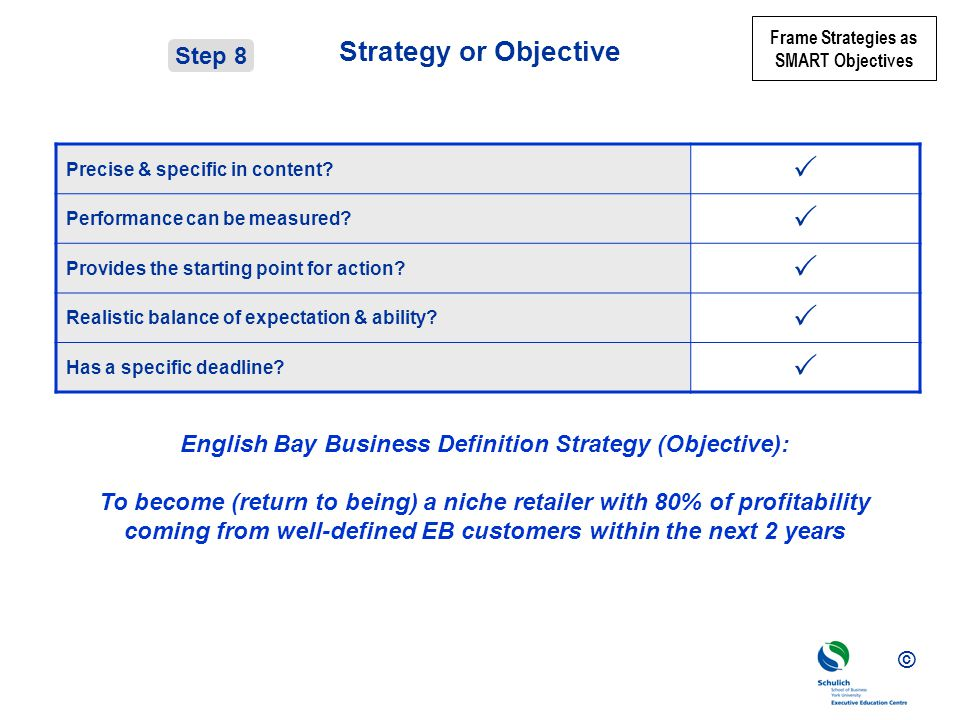 English Bay Business Definition Strategy (Objective):