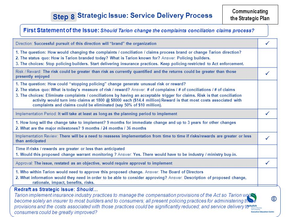 Strategic Issue: Service Delivery Process