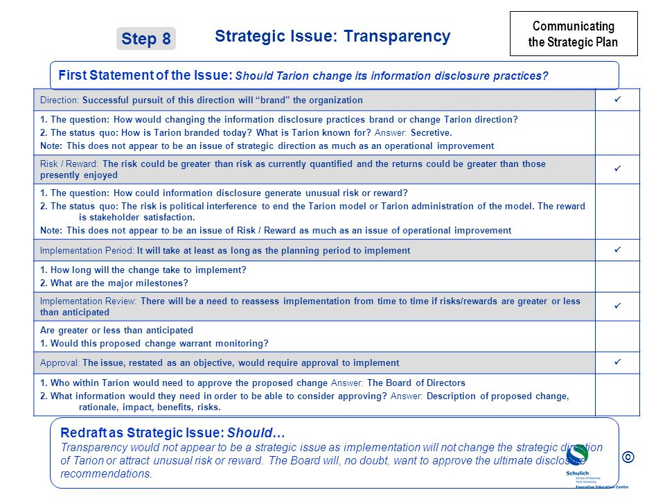 Strategic Issue: Transparency