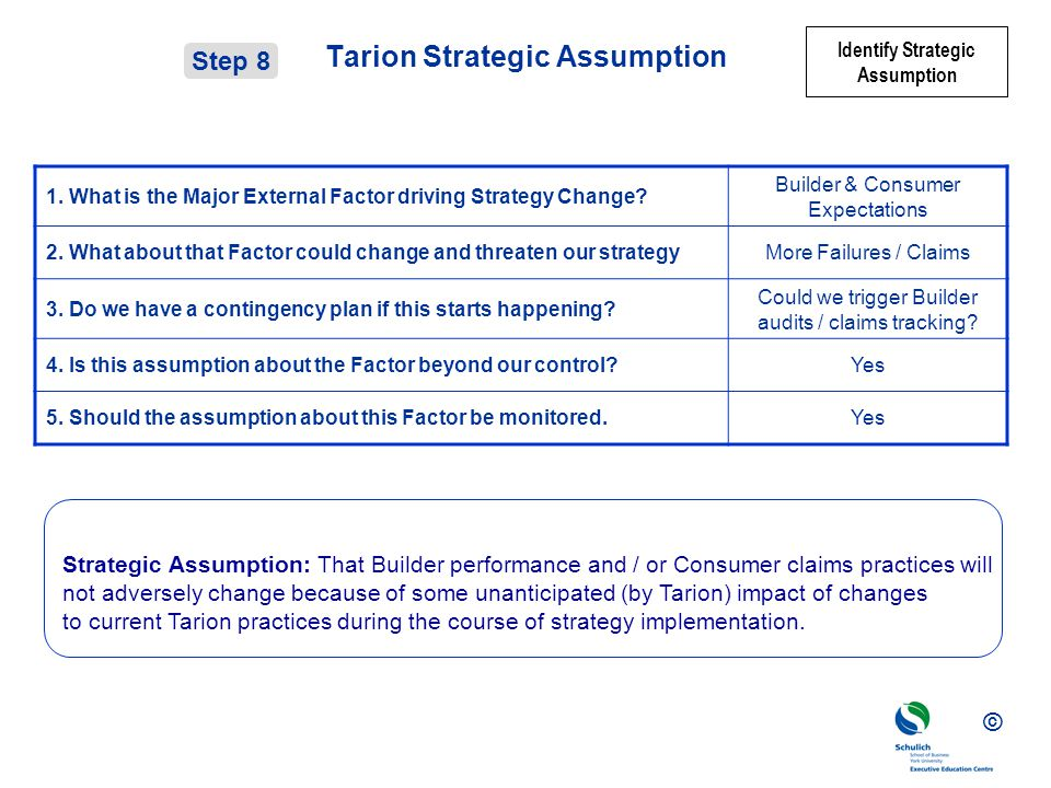 Tarion Strategic Assumption
