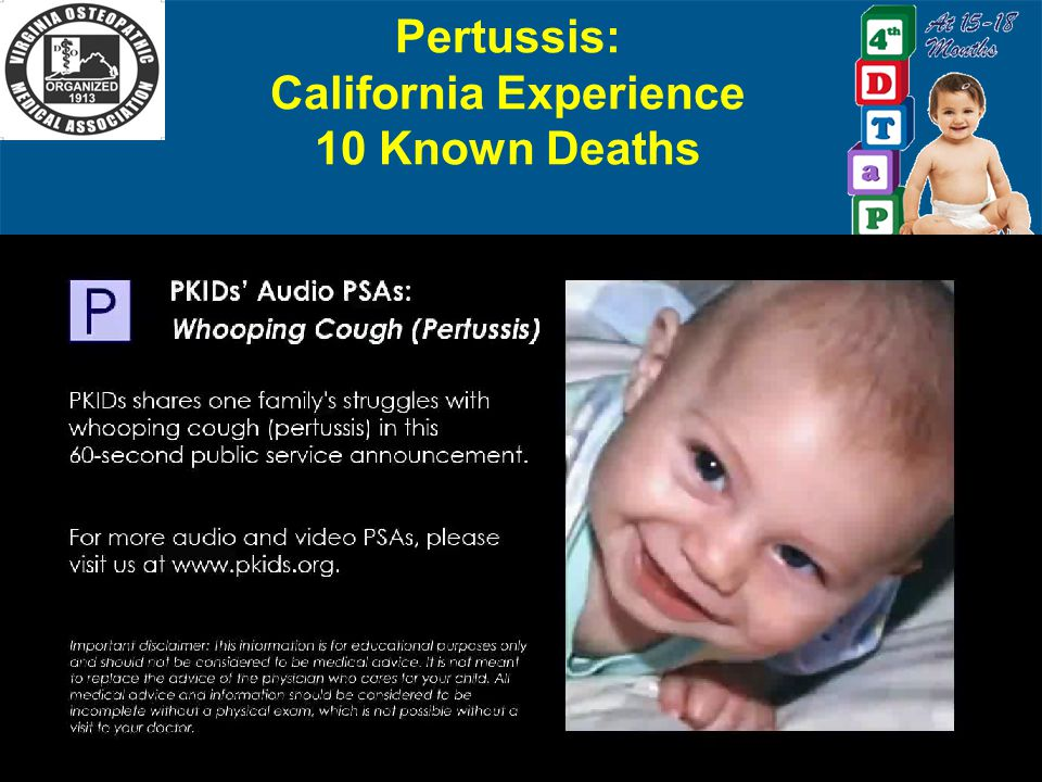 Pertussis: California Experience 10 Known Deaths