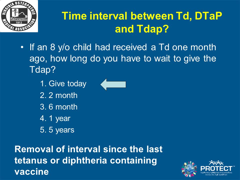 Time interval between Td, DTaP and Tdap
