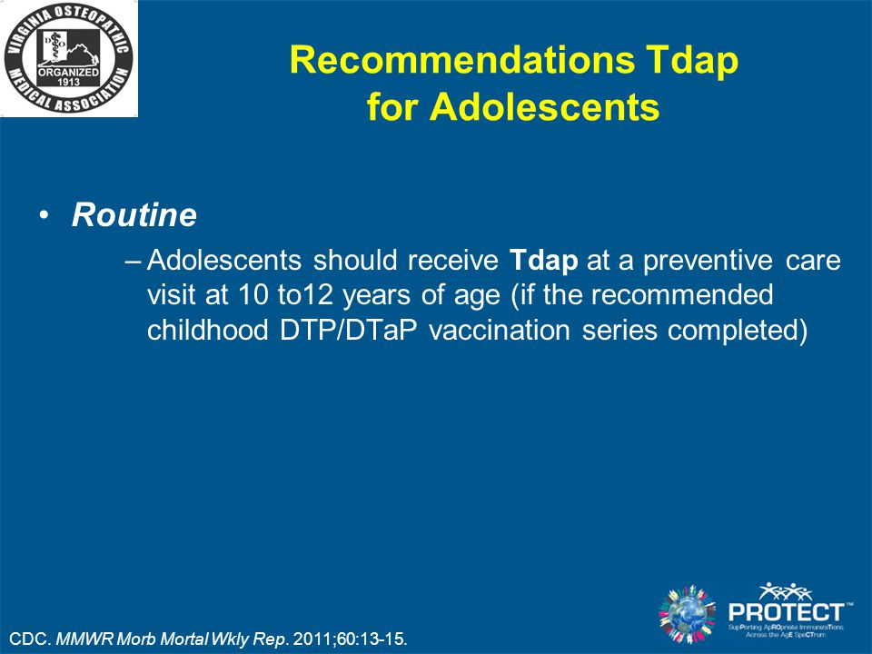 Recommendations Tdap for Adolescents