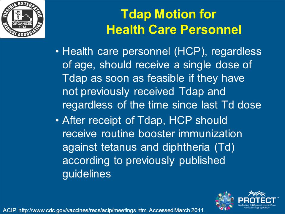 Tdap Motion for Health Care Personnel