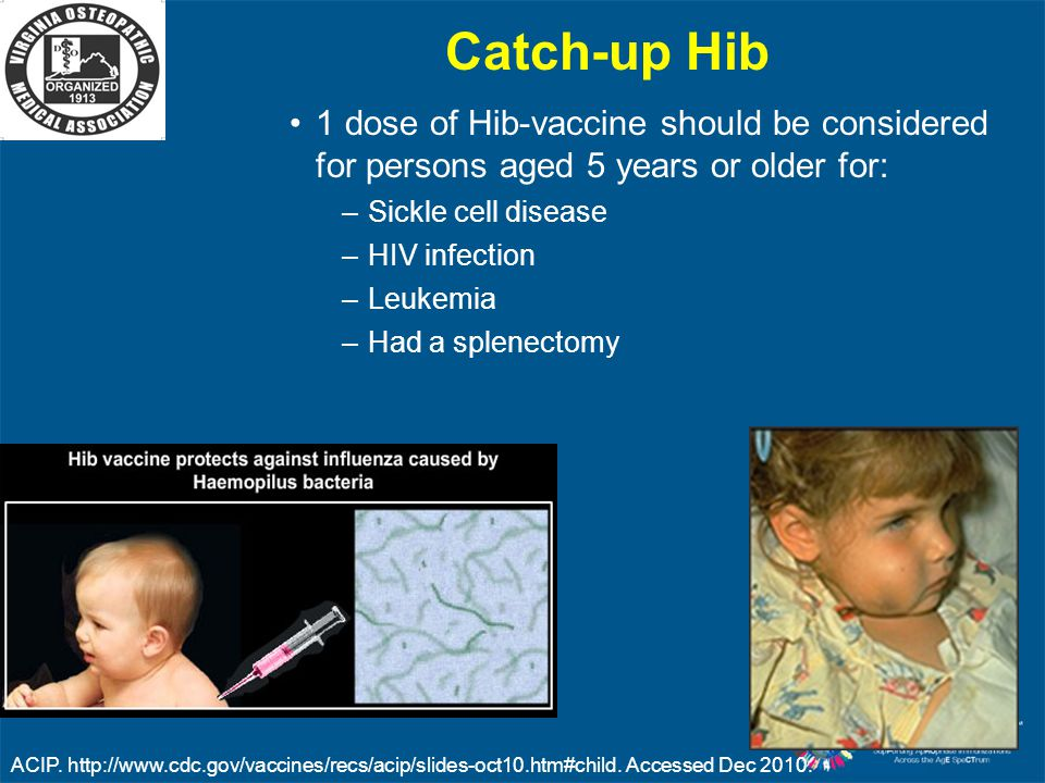 Catch-up Hib 1 dose of Hib-vaccine should be considered for persons aged 5 years or older for: Sickle cell disease.