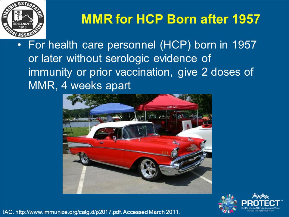 MMR for HCP Born after 1957