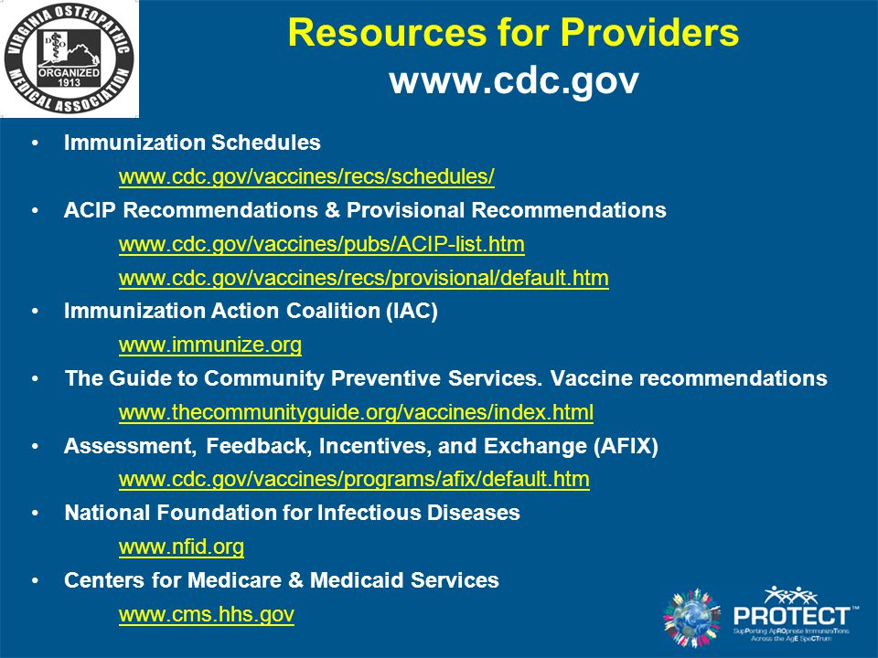 Resources for Providers www.cdc.gov