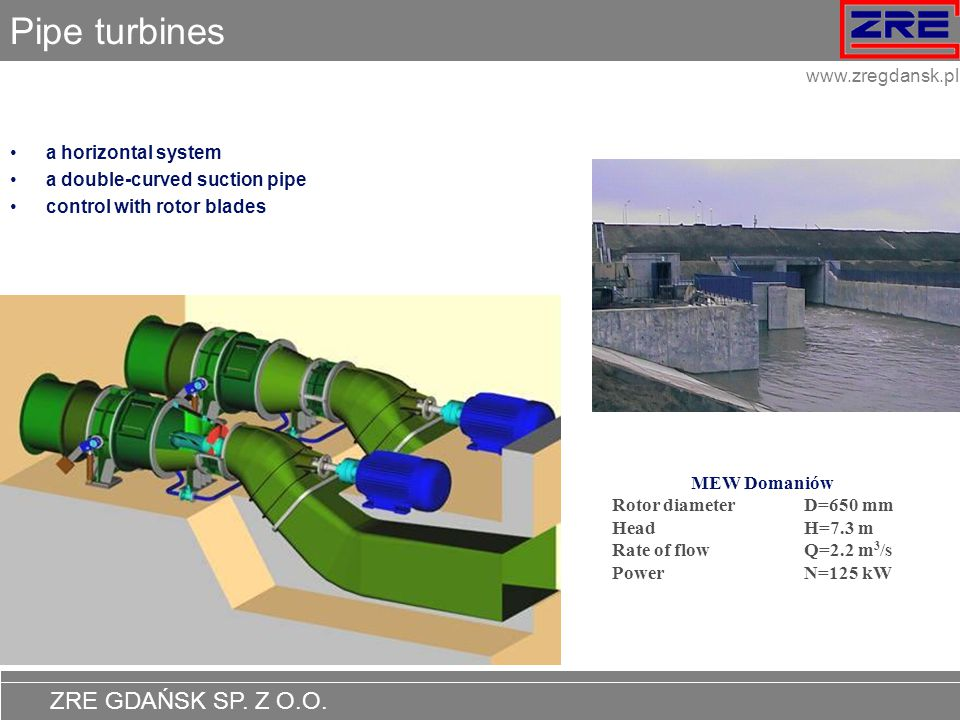 Pipe turbines a horizontal system a double-curved suction pipe